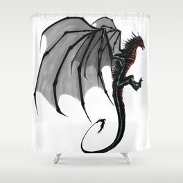 black and red Dragon Shower Curtain