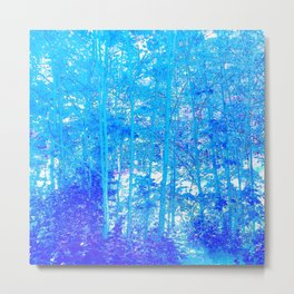 268 - Abstract Blue Forest Metal Print
