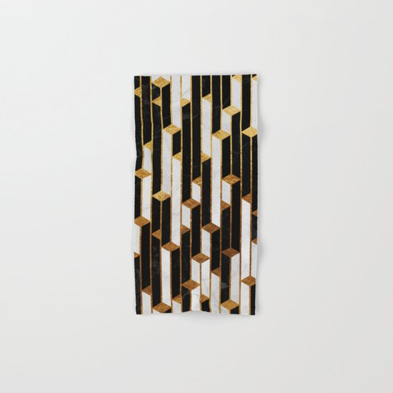 Marble skyscrapers - black, white and gold Hand & Bath Towel