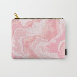 Elegant abstract pink coral white watercolor marble Carry-All Pouch
