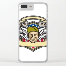 American Crew Chief Shield Mascot Clear iPhone Case
