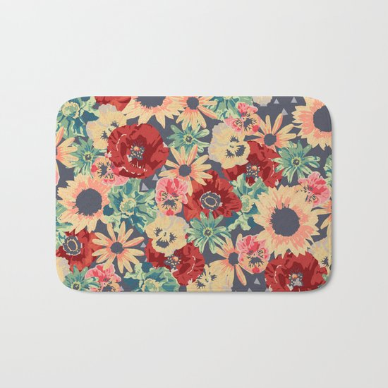 SEPIA FLOWERS -poppies, pansies & sunflowers- Bath Mat