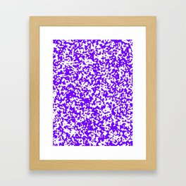 Small Spots - White and Indigo Violet Framed Art Print