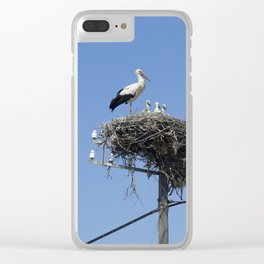 A storks' nest on a telegraph pole Clear iPhone Case