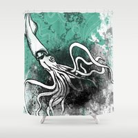 squid Shower Curtains featuring Squid by Kat Aviles