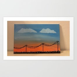 Canvas Wall Art Painting Sunset Ombre with Power Line and Cotton Field Art Print