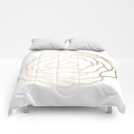 Flower in White Gold Sands Comforters