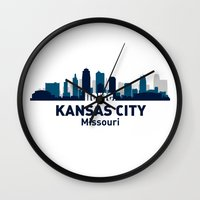 kansas city Wall Clocks featuring KANSAS CITY HOME by Random Acts of Design