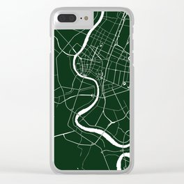 Bangkok Thailand Minimal Street Map - Forest Green and White Clear iPhone Case
