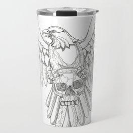 American Eagle Clutching Skull Doodle Travel Mug
