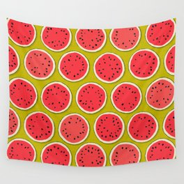 watermelon polka chartreuse Wall Tapestry
