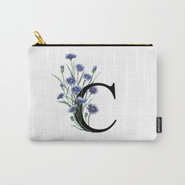 Letter 'C' Cornflower Typography Carry-All Pouch