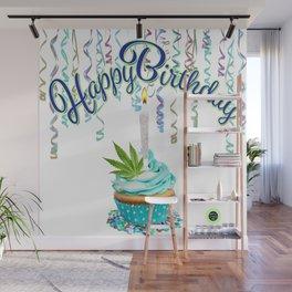 Happy Birthday Cannabis Cupcake Wall Mural
