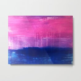 Bisexual Flag: abstract acrylic piece in pink, purple, and blue #pridemonth Metal Print