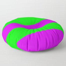 Neon Purple & Green Wide Horizontal Stripes #2 Floor Pillow
