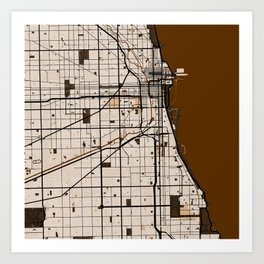 Chicago Street Map // Broun Theme Art Print