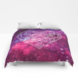 Pink Celtic Heart Galaxy Comforters