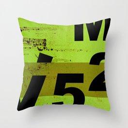 GRUNGE TECHNO V52m Typography | olive black Throw Pillow
