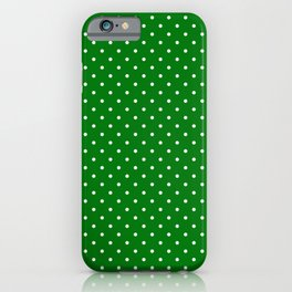 Small White Polkadot Love Heart on Christmas Green iPhone Case