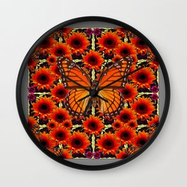 grey monarch butterflies sunflower patterns Wall Clock