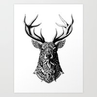 ornate Art Prints featuring Ornate Buck by BIOWORKZ