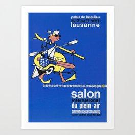 retro poster salon international du plein air caravane sports camping ouvert tous les jours des 10h palais de beaulieu lausanne bonhomme Art Print
