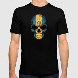 Dark Skull with Flag of Barbados T-shirt