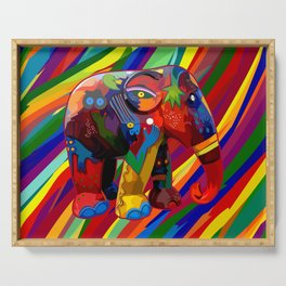 Full Color Abstract Elephant Serving Tray