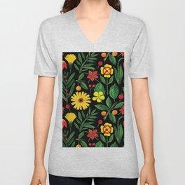 Black yellow orange green watercolor tulips daisies pattern Unisex V-Neck