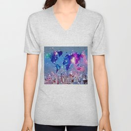 world map city skyline galaxy Unisex V-Neck