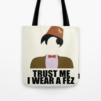 fez Tote Bags featuring Trust Me I Wear a Fez by 2hootsdesign