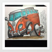 vw bus Art Prints featuring VW bus by Micah Claycamp