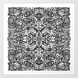 Black and White Graffiti Art Mandala Pattern  Art Print