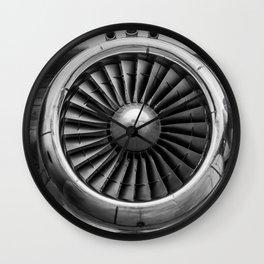 Vintage Airplane Turbine Engine Black and White Photography / black and white photographs Wall Clock