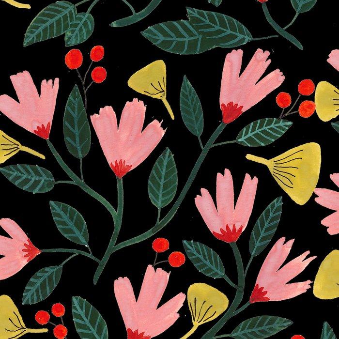 Pink Floral Pattern on Black Leggings