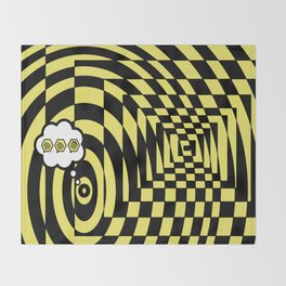optical visual illusion thinking cloud of black and white chess board tunnel op art  Throw Blanket