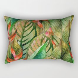 Painted Jungle Leaves 2 Rectangular Pillow
