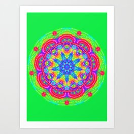 Amazing Day Neon Mandala Art Print