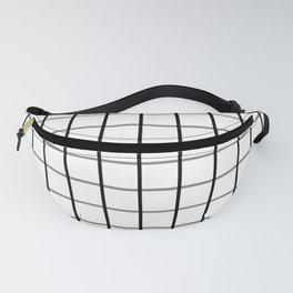 Large Black on White Grid Pattern   Fanny Pack