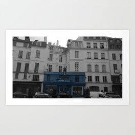 Paris blue house black and white with color Art Print