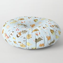 Guinea Pig Party! - Cavy Cuddles and Rodent Romance Floor Pillow