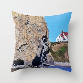 Cliffside Coastal Home Throw Pillow