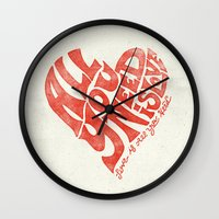all you need is love Wall Clocks featuring Love is all you need by Kris Petrat Design