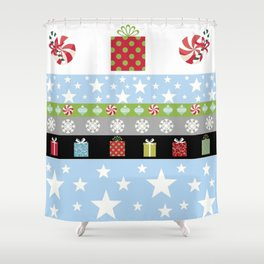 HOliday Stars Gifts-blue Shower Curtain