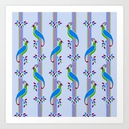 Vintage Art Deco Birds and Stripes Pattern 2 Art Print