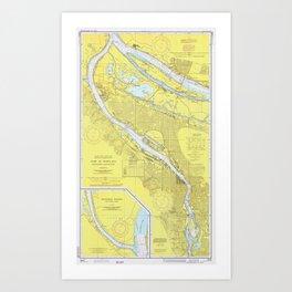 Vintage Map of Portland OR (1974) Art Print