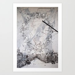 Black and white abstract city landscape Art Print
