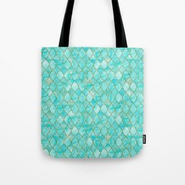 Luxury Aqua Teal and Gold oriental quatrefoil pattern Tote Bag