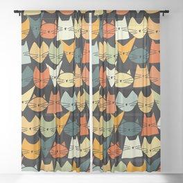 Jelly Cats Hand Drawn Vintage Dark Sheer Curtain