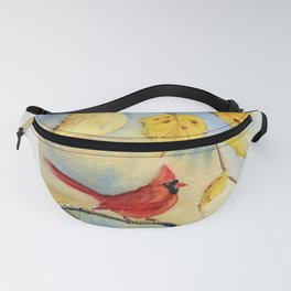 Cardinal on birch Tree Fanny Pack